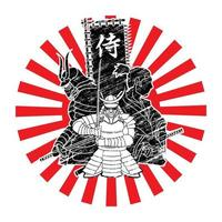 Group of Samurai Warriors Ready to Fight with Japanese Text Samurai vector