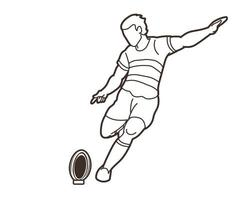 Rugby Player Kicking Ball Action Outline vector