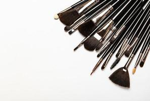 Makeup brushes with copy space photo