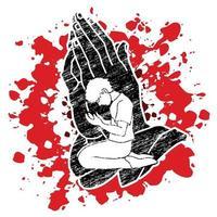 hombres rezando en las manos rezan ilustración vector