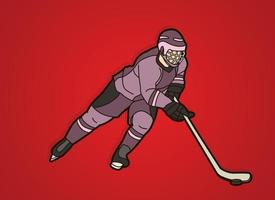 Ice Hockey Player Moving Action vector
