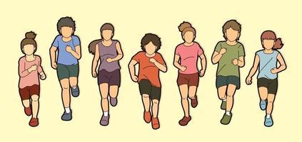 Group of Children Running Cartoon vector