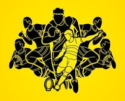 Rugby Men Players Silhouette vector