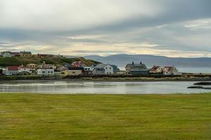 Typical small fishing town in northern Iceland photo