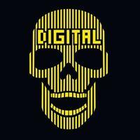 Digital skull-grunge vintage design t shirts vector