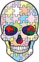 puzzle skull-grunge vintage design t shirts vector