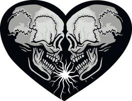 Gothic sign with skull and heart, grunge vintage design t shirts vector