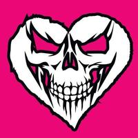 Valentines day skull with heart, grunge vintage design t shirts vector