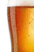 Vista cercana de vaso de cerveza ligera aislado sobre fondo blanco. foto