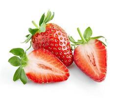 Fresh ripe strawberry isolated on white background photo