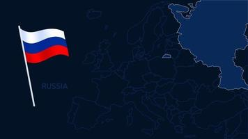 russia on europe map vector illustration. High quality map Europe with borders of the regions on dark background with national flag.