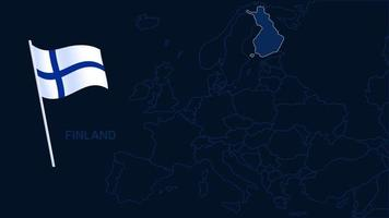 finland on europe map vector illustration. High quality map Europe with borders of the regions on dark background with national flag.