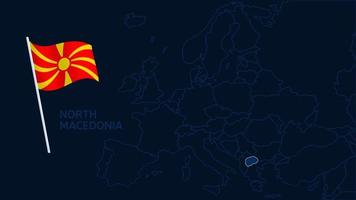 north macedonia on europe map vector illustration. High quality map Europe with borders of the regions on dark background with national flag.