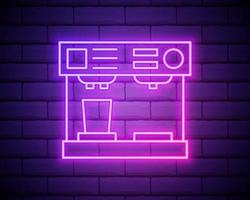 Glowing neon Coffee machine and coffee cup icon isolated on brick wall background. Vector Illustration