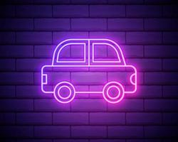 Car pink glowing neon ui ux icon. Glowing sign logo vector isolated on brick wall background