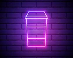 coffee, cappuccino, drink neon icon. Simple thin line, outline vector of Food icons for UI and UX, website or mobile application on dark brick wall