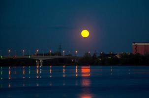 The red moon is reflected in the water photo