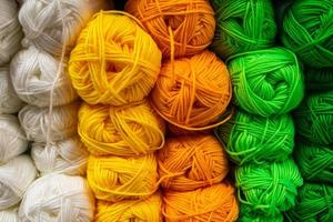 The texture of multi-colored fluffy woolen threads for knitting. photo