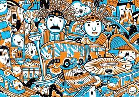 Jakarta City Landmarks Vector Illustration
