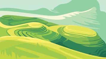 paisaje con campos de arroz. vector