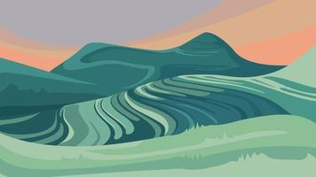 Landscape with paddy terraces. vector