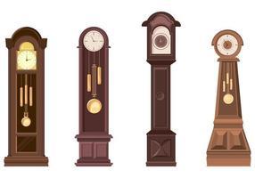 Set of grandfather clocks. vector