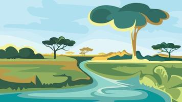 African landscape with river and trees. vector