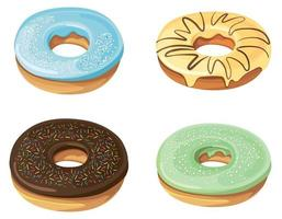 Set of donuts with different fillings. vector