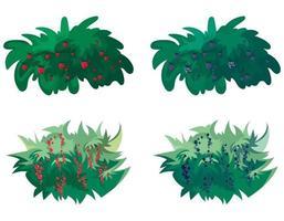 conjunto de arbustos de bayas. vector