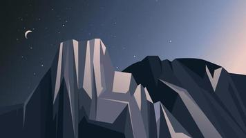 Landscape with mountains and starry sky. vector