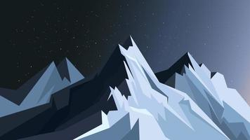 Mountains in moonlight. vector