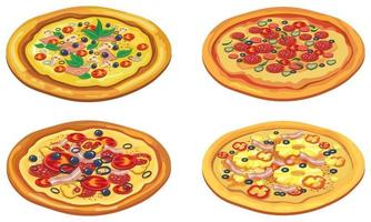 Set of different pizzas. vector
