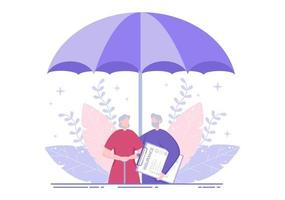 Elderly Insurance is Used For Pension Funds, Old-Age Guarantee, Health, Risks and Money Protection Concept vector