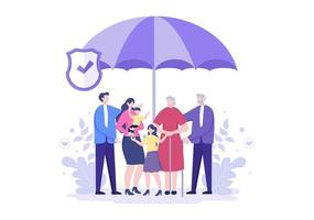 Life Insurance is Used For Pension Funds, Healthcare, Finance, Medical Service And Protection vector
