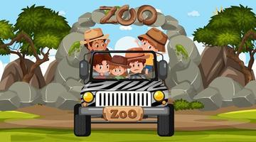 Zoo at day time scene with many kids in a jeep car vector