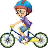 un personaje de dibujos animados de niño con casco en bicicleta vector
