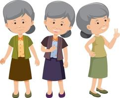 Set of old woman cartoon character with different positions vector