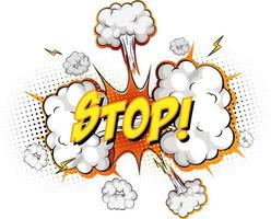 STOP text on comic cloud explosion isolated on white background vector