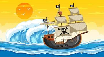 Escena del océano al atardecer con barco pirata en estilo de dibujos animados vector