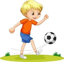 A boy cartoon character playing football vector