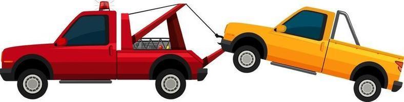 Camión de remolque tirando de coche amarillo sobre fondo blanco. vector