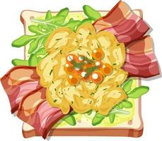 Top view of bread breakfast with topping vector