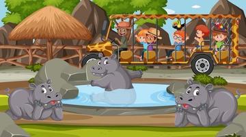 Safari en la escena del atardecer con niños viendo el grupo de hipopótamos vector