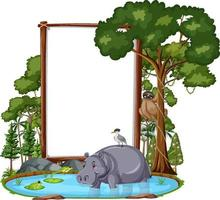 Empty banner with wild animals and rainforest trees on white background vector