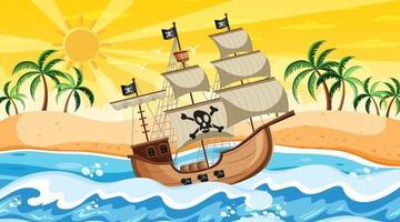 Escena de playa al atardecer con barco pirata en estilo de dibujos animados vector