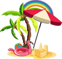 Summer beach items on the island isolated vector