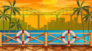 Tropical beach landscape scene with cityscape background vector