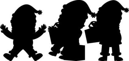 conjunto, de, santa claus, silueta, caricatura, carácter vector