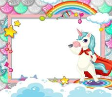 Blank banner with cute unicorn cartoon character vector