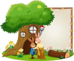Blank banner in the garden with cute rabbits isolated vector
